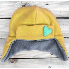 child hat mustard yellow grey blue polar fleece winter reversible for girl by GuuGuuGa - costumes handmade with love at Folksy.com