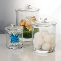 bathroom decoration items Apothecary jars can be both functional and decorative items on your bathroom counters for personal care products {featured on Home Storage Solutions Bathroom Canisters, Bathroom Storage, Bathroom Organization, Glass Canisters, Home Storage Solutions, Storage Ideas, Craft Storage, Simple Bathroom, Bathroom Ideas