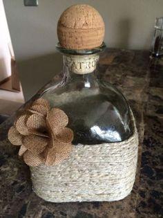 Hemp twine, patron bottle, burlap