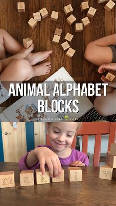 Adorable animal alphabet blocks help your child learn letters with pictures! Made with sustainable materials and practices these beautiful wood toys are a gift everyone will love. Wood Kids Toys, Wood Toys, Alphabet Blocks, Wooden Alphabet, Puzzles For Toddlers, Toddler Activities, Kids Blocks, Wood Blocks, Diy Sensory Board