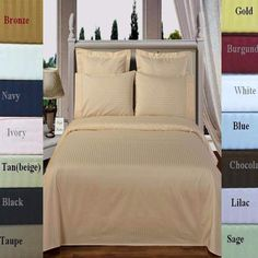 Egyptian Cotton 300 thread count Striped Pattern Duvet Cover and Shams Set.  Striped bedding set is  available in a variety of colors and sizes.
