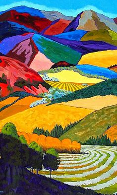 Gene Brown Through The Trees And Into The Valley - Southwest Gallery: Not Just Southwest Art. Landscape Quilts, Landscape Art, Landscape Paintings, Landscape Pictures, California College Of Arts, California California, Southwest Art, Mountain Paintings, Sgraffito