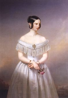 """Alexandra """"Adini"""" Nikolaievna Romanova (1825-1844) Russia, 4th child of Tsar Nicholas I (1796-1855) Russia & wife Charlotte-Alexandra Feodorovna (1798-1860) Prussia by unknown photographer. 1st wife of Prince Friedrich Wilhelm (1820-1884) Hesse, the father of Frederick Charles """"Fischy"""" (1868-1940) Hesse. Adini was ill with tuberculosis before her wedding, gave birth early to son Wilhelm & they both died in Russia with her husband by her side."""