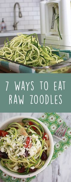 7 Ways To Eat Raw Zoodles! Raw Zucchini noodles are a healthy, gluten free, low carb way to add some noodle like substance into your life. How to make zoodles easy & quickly with my raw zoodle recipes. Many zoodle sides can be turned into main courses by adding chicken or shrimp to your zucchini noodles. Zoodle pesto, zoodle marinara, zoodle salad & zoodles with avocado..they are all on the list with much more raw zoodle recipes.