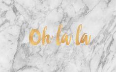 Grey gold marble Oh la la desktop wallpaper background