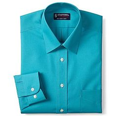 Stafford essentials fitted broadcloth dress shirt for Stafford dress shirts fitted