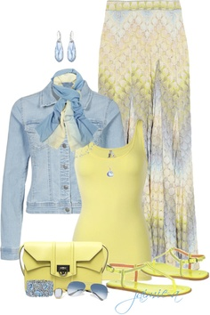"""Blue & Yellow Maxi Skirt"" by jaimie-a ❤ liked on Polyvore"