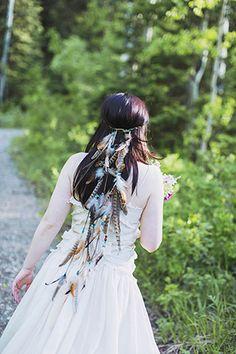 boho bridal feather