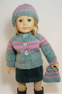 American Girl 18 inch doll clothes hand knit cardigan sweater, hat, handbag and skirt. via WhoaItsMe on Etsy