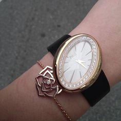 Limelight Magic Hour #watch. Rotating case in 18K #rose gold set with 36 #diamonds. Piaget 56P quartz #movement. Piaget Rose bracelet in rose gold set with a brilliant-cut diamond.