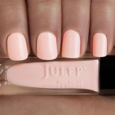 Style your nails with a Pale peach soft focus (semi-matte) nail polish with Oxygen Technology by Julep. Janet is the perfect orange nail polish for your at-home manicure or pedicure. Nails Yellow, Peach Nails, Peach Acrylic Nails, Pink Nail, White Nail, Pastel Nails, Essie, Toe Nail Color, Nail Colors For Pale Skin