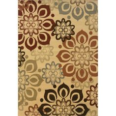 Over stock.com-This striking large scale modern floral motif area rug offers shades of beige, rust, red, grey and brown . Featuring a durable yet soft polypropylene construction, this beautiful rug will make a wonderful addition to any room.