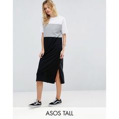 ASOS TALL Colour Block Midi Dress (355 NOK) ❤ liked on Polyvore featuring dresses, multi, short sleeve midi dress, cotton dresses, midi dress, short sleeve jersey dress and color block midi dress