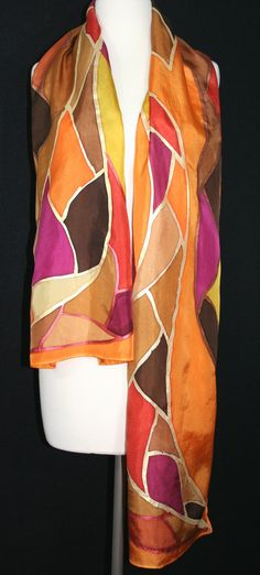 Orange Silk Scarf. Hand Painted Scarf. Handmade Silk Shawl AUTUMN PATCHWORK. Large 14x72. Birthday, Bridesmaid Gift. Gift-Wrapped. Silk Scarves Colorado. Handmade Silk Scarf. Hand Dyed. Made in Colorado USA. 100% silk. Free Gift Wrapping. MADE TO ORDER scarf. This is a 100%