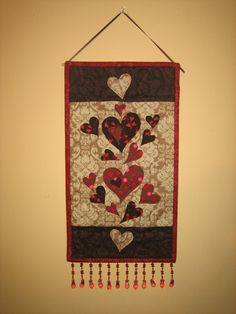 Valentine Red and Brown Hearts Fabric Wall Hanging Quilted Handmade by TahoeQuilts on Etsy