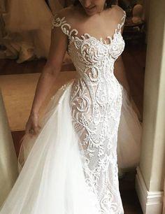 Fabulous Illusion Jewel Neck Mermaid Lace Beaded Wedding Dress with Detachable Train