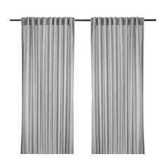 Gulsporre Curtains at IKEA, grey pinstripe.  Would love to find horizontal stripes.  $14.99 each