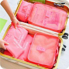 6 Teile/satz Reise Aufbewahrungsboxen Wasserdichte Organizer für Unterwäsche Kleidung Aufbewahrungsbeutel Set Container Frauen Taschen Gepäcktasche
