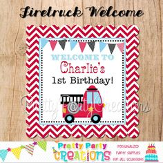 FIRETRUCK welcome sign  You Print  8x8 by PrettyPartyCreations, $7.50
