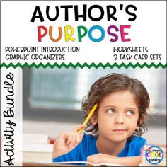 Author's Purpose Activity Bundle by Staying Cool in the Library Authors Purpose Activities, Graphic Organizers, Task Cards, Teacher Pay Teachers, Literacy, Student, Teaching, Worksheets, Strong