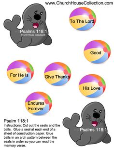 """Give Thanks To The Lord"" Seal Beach Ball Cutout Sunday School Craft For…"