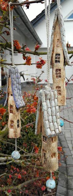 3 Keramik Windspiel Klangstäbe