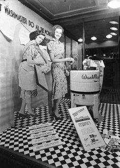 Electric washing machine dazzles in 1930s window display
