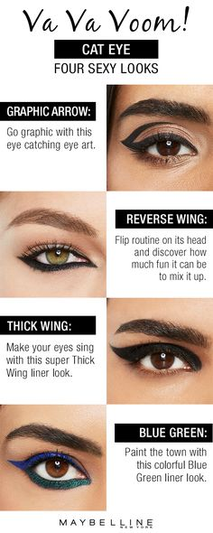 Spruce up your holiday beauty routine by trying these fun cat eye looks for your holiday parties! Maybelline has the ultimate cat eye look guide to inspire you. It's easier to get the look you're after when you have the right tools for the job. Whether you want to rock a graphic arrow, reverse wing, thick winged out liner or colorful liner Maybelline has the beauty looks you love.