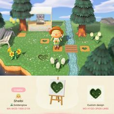 Landscape set for your islands 💖 includes the stream, the heart lawn cut-outs and the flowers. Use my creator ID at the kiosk 🥰 - ACQR Animal Crossing Paths, Animal Crossing Villagers, Animal Crossing Qr Codes Clothes, Animal Crossing Pocket Camp, Ac New Leaf, Motifs Animal, Path Design, Design Design, Graphic Design