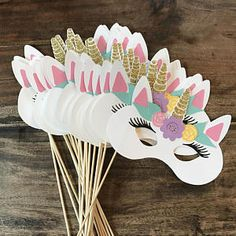 Set Of 4 Unicorn Photo Booth Prop Sticks- Party Props, Animal Masks Diy Unicorn Birthday Party, Unicorn Birthday Parties, 3rd Birthday, Kids Crafts, Party Crafts, Preschool Crafts, Unicorn Photos, Diy Birthday Decorations, Unicorn Decorations Party