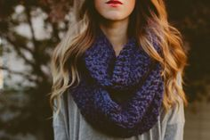 Caring Cowls: Featuring a Navy Chunky Knit Caring Cowl - Twenties Girl Style