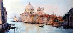 Watercolor painting of Basilica Santa Maria della Salute, Venice by Chrysovalantou