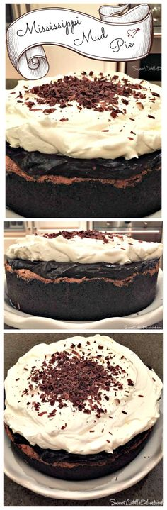 MISSISSIPPI MUD PIE {also known as Muddy Mississippi Cake}  A flourless chocolate cake inside a cookie crust, layered with silky pudding and topped with fresh whipped cream and shaved semi-sweet chocolate.  A chocolate lover's dream!!    SweetLittleBluebird.com