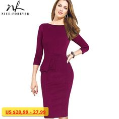 Nice-forever Career Female Peplum Work Dress 3/4 Sleeve O Neck Women Fashion Sheath Elegant Business Bodycon Pencil Dress b228