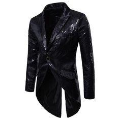 Shiny Gold Sequin Glitter Embellished Blazer Jacket Men Nightclub Prom Suit  Blazer Men Costume Homme Stage Clothes For singers d1c6ec91b5c6