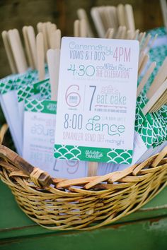 Wedding ceremony and reception programs on fans. I like this idea, not only to keep me on track but to let everyone know where and when everything is happening.