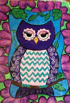 Whimsical Owl Floor Cloth on Etsy, $85.00