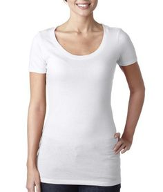 Next Level Womens The Scoop Tee 3530-White-X-Larg