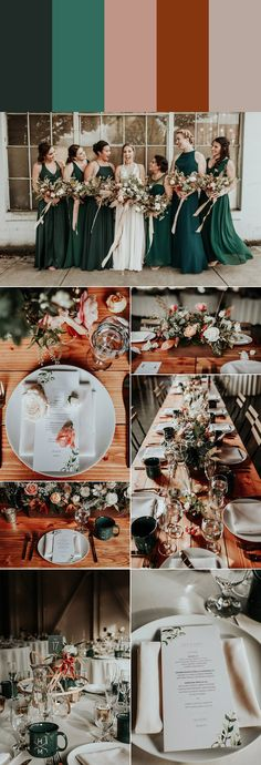 Wedding Trends This emerald wedding incorporated neutral shades for an elegant look Emerald Wedding Colors, Emerald Green Weddings, Winter Wedding Colors, Wedding Colors Green, Green Brown Wedding, Emerald Green Bridesmaid Dresses, Romantic Wedding Colors, Emerald Color, Romantic Weddings