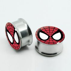 """Super Hero Spider Earplugs, Gauges, Double flare Steel Tunnel Gauge Plugs ear stretchers set,2g to 1""""inch ,Body Piercing,Mixed Size"""