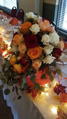 Fall colored roses, bridal bouquet. Flowers by Martin's Floral Department.  Angela and Cory 10-17-15.