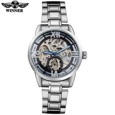 WINNER fashion men mechanical watches stainless steel band skeleton dials 2016 silver automatic wristwatches relogio masculino