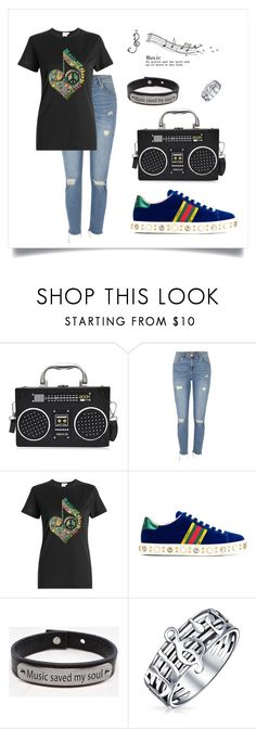 """""""Music"""" by taketheidea ❤ liked on Polyvore featuring River Island, Gucci, Pink Box and Bling Jewelry"""