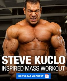 Take your mass gaining to a whole new level with this workout split inspired by several individual workout videos we've published featuring Steve Kuclo! Leg Workouts For Mass, Chest Workout For Mass, Full Body Workout Routine, Muscle Building Workouts, Chest Workouts, Weight Training Programs, Weight Training Workouts, Gym Workout Tips, Workout Programs