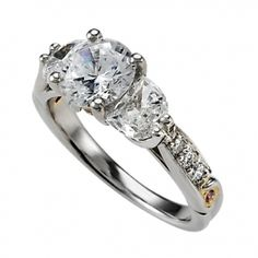 Sarit Bridal Halfmoon Diamond Semi Mounting with Pave Shank & Pink Diamond Accents