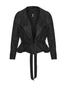 Yppig Open belted jacket in Black