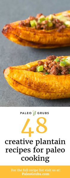 Plantains make a perfect substitute for potato in Paleo cooking! Here is a list of my favorite plantain recipes that use this fruit as a creative Paleo substitute. paleo diet tips Autoimmun Paleo, Paleo Grubs, Paleo Recipes, Healthy Dinner Recipes, Great Recipes, Favorite Recipes, Paleo Appetizers, Keto, Healthy Starch