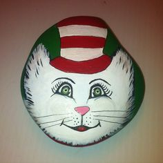 Cat in a hat painted rock
