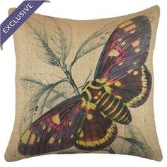 "Handmade in America exclusively for Joss & Main, this pillow features burlap upholstery with a multicolor moth motif.  Product: PillowConstruction Material: Burlap cover and fiber fillColor: MultiFeatures:  Handmade by TheWatsonShopZipper closureInsert included Dimensions: Small: 16"" x  16"" Medium: 18"" x 18""Large: 20"" x 20"" Extra Large: 22"" x 22"" Cleaning and Care: Spot clean"