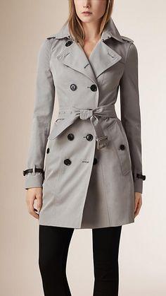 Cinza claro mesclado Trench coat de gabardine de algodão com acabamento de couro - Imagem 1